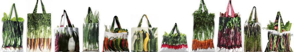 Sacs de courses originaux de Maron Bouillie. Imprimés de légumes, ils sont frais et respectueux de l'environnement.