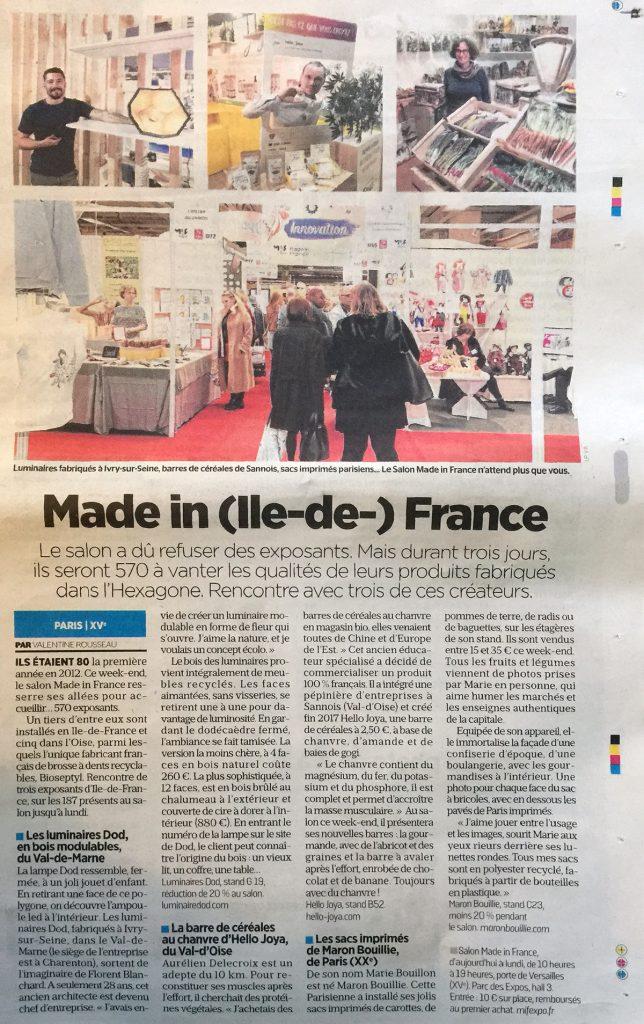 Made in (île-de-)France article Le Parisien 08/11/19