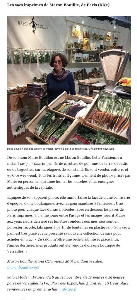 Article-Maron Bouillie-Le-Parisien-08/11/19