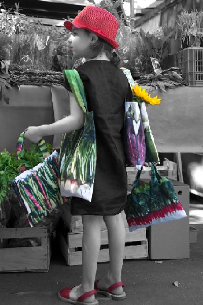 Maron Bouillie - Un petit tour au marché - sacs de couses - sacs à légumes