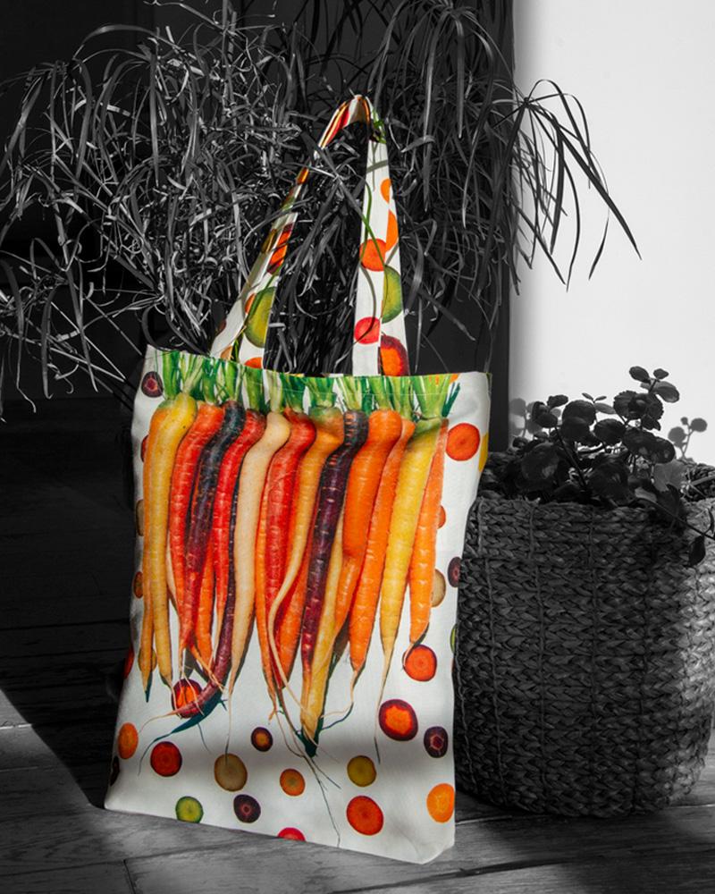 Tote bag design graphique Carottes multicolores en rang made in France